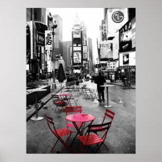 Zwarte Wit van het Times Square & Rood Poster