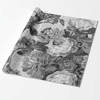 Zwarte & Witte BloemenToile Botanische Decoupage Cadeaupapier