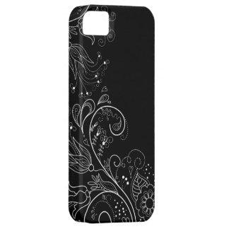 Zwarte & Witte Capricieuze BloemeniPhone 5 Hoesje