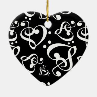 Zwarte Witte Drievoudige BasKerstmis van de Muziek Keramisch Hart Ornament