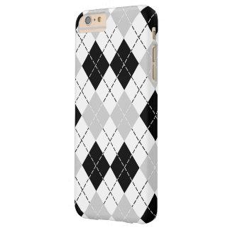 Zwarte Witte en Grijze Argyle Barely There iPhone 6 Plus Hoesje