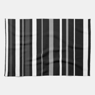 Zwarte, witte en grijze strepen theedoek