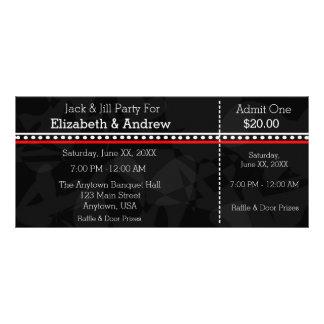 Zwarte Witte en Rode Hefboom & Jill Shower Tickets Reclamekaart