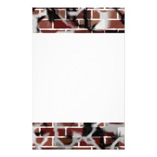 Zwarte & Witte Graffiti Doorzeefde Bakstenen muur  Briefpapier Papier