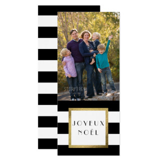 """Zwarte & Witte Kerstmis van de Foto van """"Joyeux 10,2x23,5 Uitnodiging Kaart"""