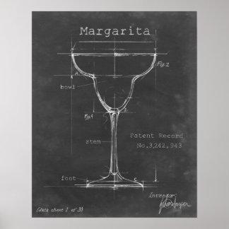 Zwarte & Witte Margarita Glass Blueprint Poster