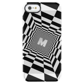 Zwarte & Witte Optische illusie, Wit Monogram Doorzichtig iPhone SE/5/5s Hoesje