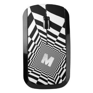 Zwarte & Witte Optische illusie, Wit Monogram Draadloze Muis