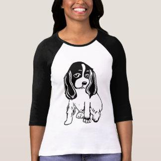 Zwarte Witte Raglan van de Dames van de T Shirt