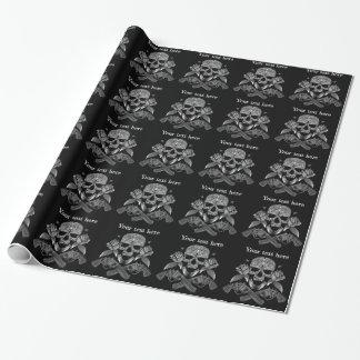 Zwarte & Witte Schedel en Pistolen Inpakpapier