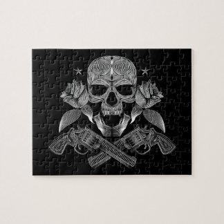 Zwarte & Witte Schedel en Pistolen Legpuzzel