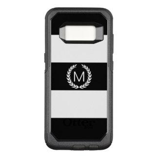 Zwarte & Witte Streep met het Monogram van de OtterBox Commuter Samsung Galaxy S8 Hoesje