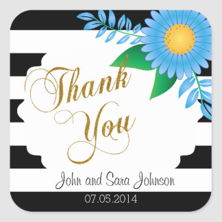 Zwarte & Witte Strepen, Gouden | Blauwe Bloemen Vierkant Stickers