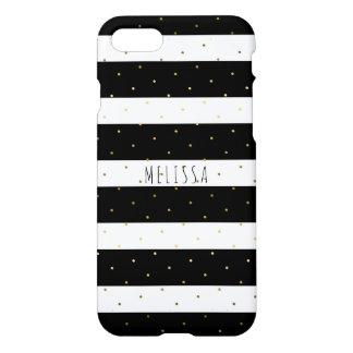 Zwarte & Witte Strepen Gouden Polkadots iPhone 8/7 Hoesje