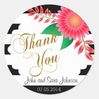 Zwarte & Witte Strepen, Gouden | Roze Bloemen Ronde Stickers