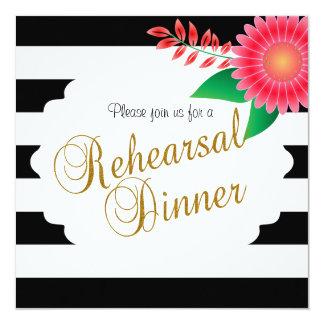 Zwarte & Witte Strepen, Gouden | Roze Bloemen | 13,3x13,3 Vierkante Uitnodiging Kaart