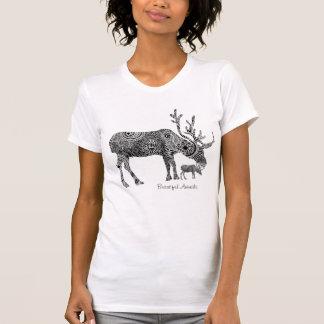 Zwarte & Witte Versierd BloemenAmerikaanse elanden T Shirt