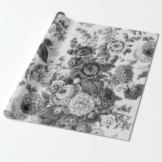 Zwarte & Witte Vintage Botanische BloemenToile Inpakpapier