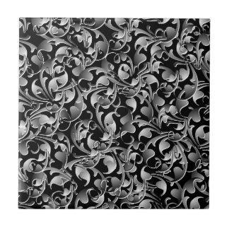Zwarte & Zilveren het Kronkelen Bladeren Keramisch Tegeltje