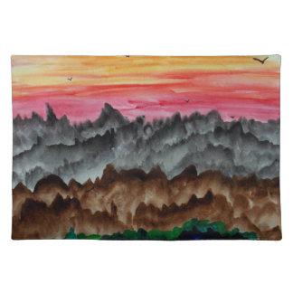 Zwarte zwanen bij zonsondergang placemat