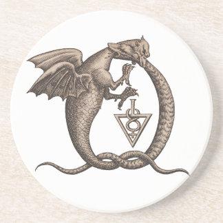 Zwavel en het Symbool van Mercury Ouroboros Zandsteen Onderzetter