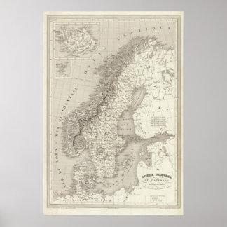 Zweden, Noorwegen, en Denemarken Poster
