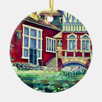 Zweden, Traditioneel Landschap Rond Keramisch Ornament