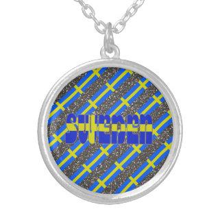 Zweedse strepenvlag zilver vergulden ketting
