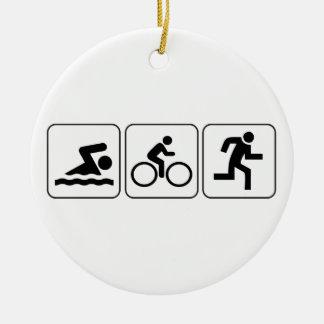 Zwem, Fiets, Looppas - Triathlon Rond Keramisch Ornament