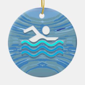 ZWEM het Succes van de Zwemmer duiken het Succes Rond Keramisch Ornament
