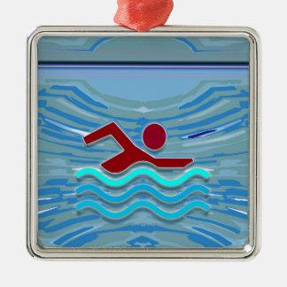 Zwem het Zwemmen van de Geschiktheid NVN254 van de Zilverkleurig Vierkant Ornament