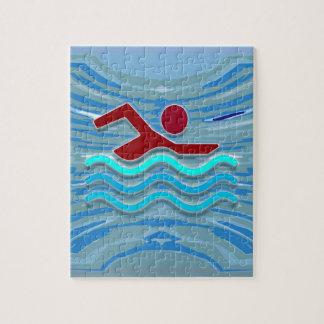 Zwem het Zwemmen van de Geschiktheid van de Legpuzzel