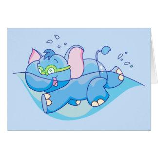 Zwemmen van de Olifant van Lil het Blauwe Notitiekaart