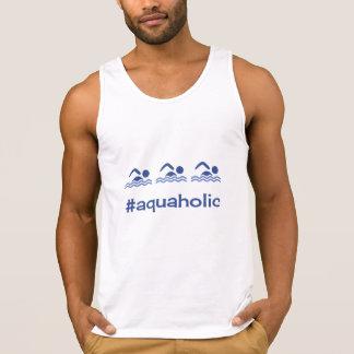Zwemmende blauwe aquaholic hashtag hemd