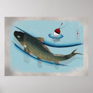 Zwemmende Karper Poster