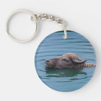 Zwemmende Waterbuffel Sleutelhanger