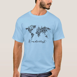 Zwerflust, wereldkaart met vliegende vogels t shirt