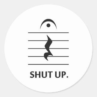 Zwijg door de Aantekening van de Muziek Ronde Sticker