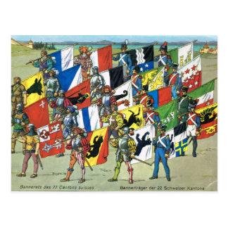 Zwitserland, Banners van de 22 Zwitserse Kantons Briefkaart