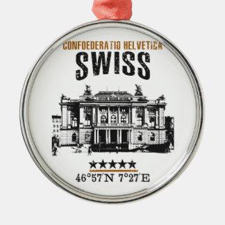 Zwitserland Zilverkleurig Rond Ornament