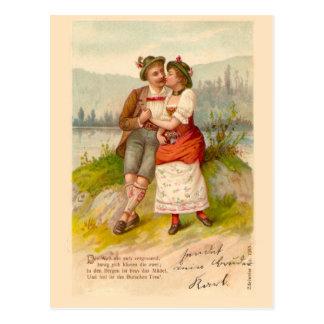 Zwitsers paar door het meer 1912 briefkaart
