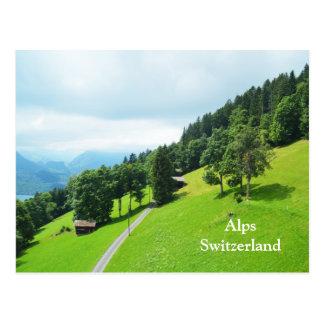 Zwitserse alpen in de zomer briefkaart