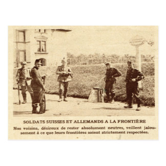 Zwitserse en Duitse militairen de van de Briefkaart
