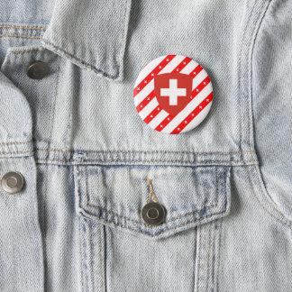 Zwitserse strepenvlag ronde button 5,7 cm
