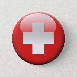 Zwitserse Vlag 2.0 Ronde Button 5,7 Cm