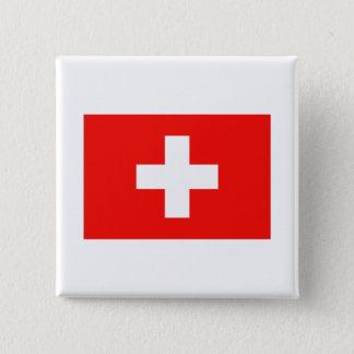 Zwitserse Vlag Vierkante Button 5,1 Cm
