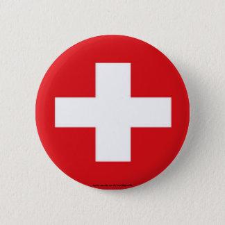 Zwitserse vlagknoop ronde button 5,7 cm